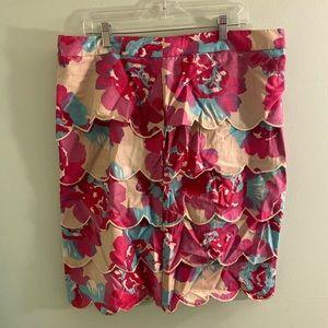 EShakti floral scallop layer skirt